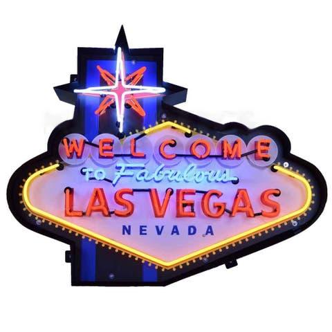 Neonetics Indoor Hand Blown Welcome to Fabulous Las Vegas Neon Sign in Shaped Steel Can