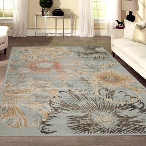 Admire Home Living Gallina Contemporary Transitional Distressed Floral Pattern Area Rug