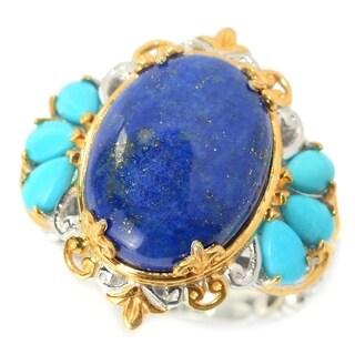 Michael Valitutti Palladium Silver Lapis Lazuli & Sleeping Beauty Turquoise Ring