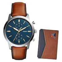 Fossil Men's FS5392SET 'Townsman' Chronograph Stainless Steel and Brown Leather 44mm Round Watch