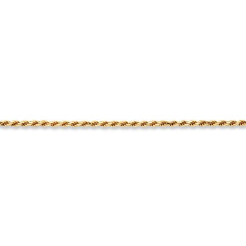 """Yellow Gold over Sterling Silver Rope Chain Necklace (3.5mm), 18"""""""
