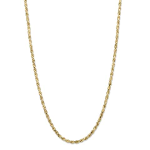 """Yellow Gold over Sterling Silver Rope Chain Necklace (2mm), 22"""""""