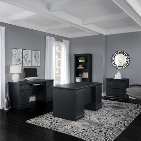 Copper Grove Varna 60-inch Executive Desk, Credenza, File and Bookcase in Black