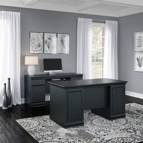 Copper Grove Varna 60-inch Executive Desk with Credenza in Black