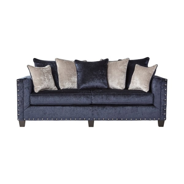 Incredible Shop Ikat Grand Blue Velvet Sofa With Nail Head Accent Ibusinesslaw Wood Chair Design Ideas Ibusinesslaworg
