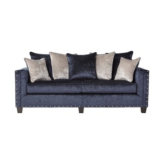 Astounding Ikat Grand Blue Velvet Sofa With Nail Head Accent Overstock Com Shopping The Best Deals On Sofas Couches Ibusinesslaw Wood Chair Design Ideas Ibusinesslaworg