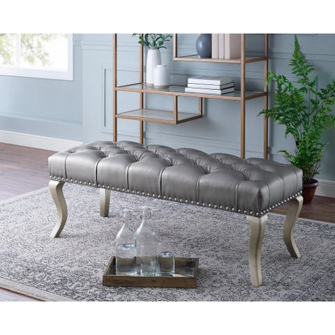 Decor Maxem Tufted Upholstered Seat with Nailhead Trim Bench