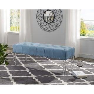 Link to Valley Button tufted Velvet Upholstered Bench with Acrylic Leg Similar Items in Living Room Furniture