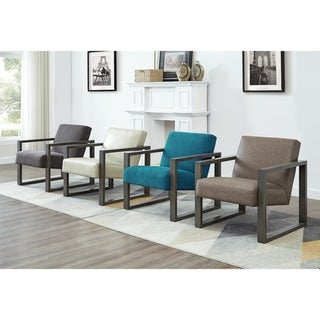 Luv Square Arm Faux Leather Upholstered Seat Accent Chair