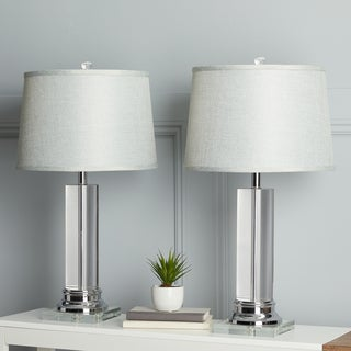 Clay Alder Crystal Column Table Lamp with Grey Shade (Set of 2)