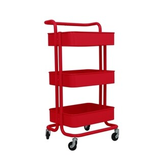 ALEKO Lightweight Steel 3-Tier Rolling Utility Cart with Handle Red - N/A