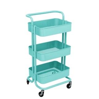ALEKO Lightweight Steel 3-Tier Rolling Cart with Handle Light Blue - N/A