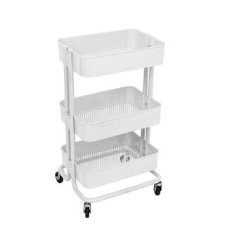 ALEKO Lightweight Carbon Steel 3-Tier Rolling Utility Cart White - N/A