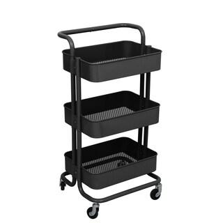 ALEKO Lightweight Carbon Steel 3-Tier Rolling Cart with Handle Black - N/A