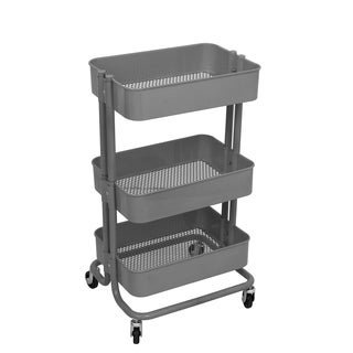 ALEKO Lightweight Carbon Steel 3-Tier Rolling Utility Cart Grey - N/A
