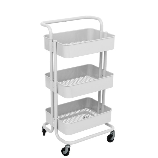 ALEKO Lightweight Steel 3-Tier Rolling Utility Cart with Handle White