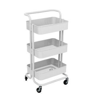 ALEKO Lightweight Steel 3-Tier Rolling Utility Cart with Handle White - N/A