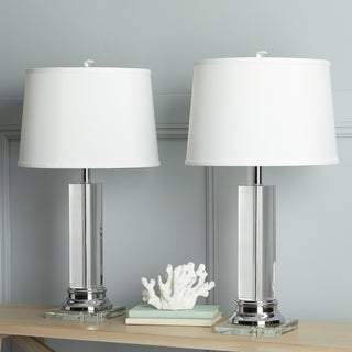 Clay Alder Crystal Column Table Lamp with White Shade (Set of 2)