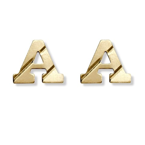 14K Yellow Gold Personalized Initial Stud Earrings (5x6mm)