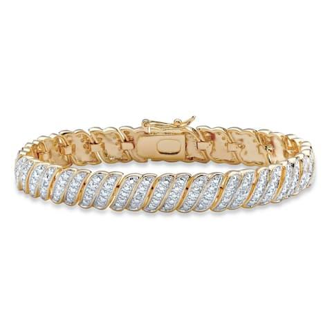 "Yellow Gold-Plated Tennis Bracelet (10mm), Genuine Diamond Accent 7"""