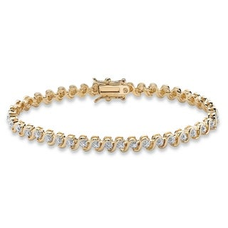 """Link to Gold-Plated Tennis Bracelet (4.5mm), Genuine Diamond Accent 7.5"""" Similar Items in Bracelets"""