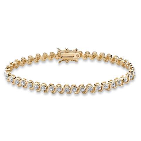 "Gold-Plated Tennis Bracelet (4.5mm), Genuine Diamond Accent 7.5"""