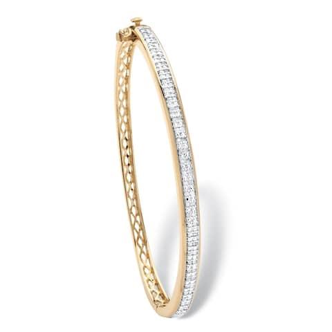 Yellow Gold-Plated Round Genuine Diamond Bangle Bracelet (3/8 cttw)