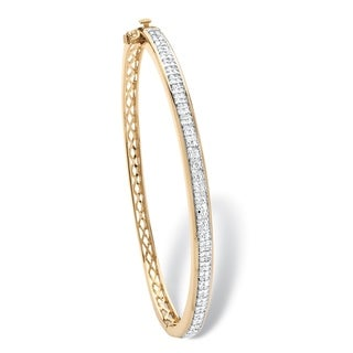 Link to Yellow Gold-Plated Round Genuine Diamond Bangle Bracelet (3/8 cttw) Similar Items in Bracelets