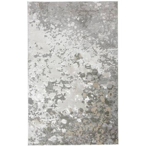 Grand Bazaar Orin Silver/Gray Modern Abstract Contemporary Area Rug - 5' x 8'