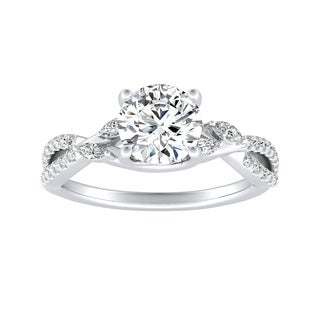 Auriya 14k Gold Twisted 1/4cttw Diamond and 1ct Round Moissanite Infinity Engagement Ring