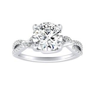 Auriya 14k Gold 2ct Round Moissanite and 1/4ct TDW Twisted Infinity Diamond Engagement Ring