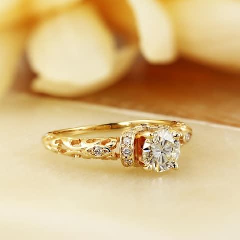 Auriya 14k Gold 3/4ct Vintage Moissanite and Diamond Engagement Ring 1/8ctw