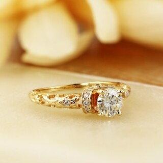 Auriya 14k Gold Vintage Inspired 1/8cttw Diamond and 3/4ct Round Moissanite Engagement Ring