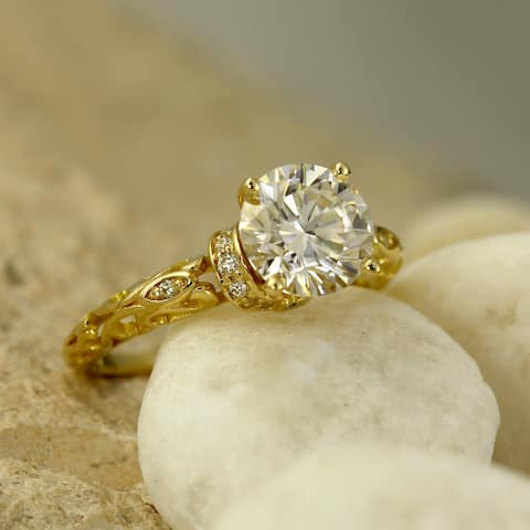 Auriya Vintage 2ct Round Moissanite and 1/8ctw Diamond Engagement Ring 14K Gold