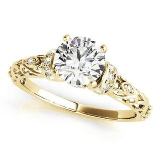 Auriya 14K Gold 2 carat TW Vintage Round Moissanite and 1/8cttw Diamond Engagement Ring