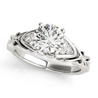 Auriya Vintage 1/2ct Round Moissanite and 1/10ctw Diamond Engagement Ring 14K Gold