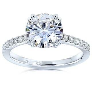 Annello By Kobelli 14k Gold 1 3 4 CTW Moissanite And Lab Grown Diamond Engagement Ring HI VS DEF VS