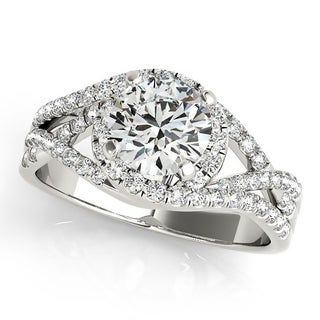 Auriya Infinity Split-Shank Round 1 1/2ct Moissanite and 3/8ct TDW Diamond Halo Engagement Ring 14K Gold