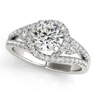 Auriya 14k Gold 3/4cttw Halo Diamond and 2 1/2ct Brilliant Round Moissanite Engagement Ring
