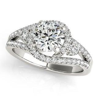 Auriya 14k Gold 3/4cttw Halo Diamond and 4ct Brilliant Round Moissanite Engagement Ring