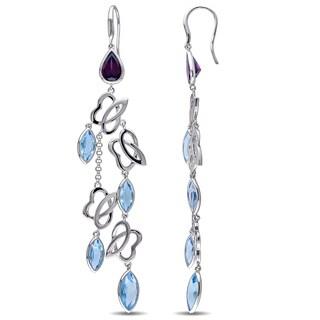Miadora Sterling Silver Swiss-Blue Topaz & Rhodolite Station Drop Earrings