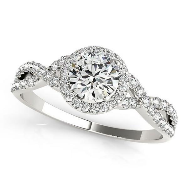 Auriya 3/4ct Twisted Moissanite Halo Diamond Engagement Ring 1/5ctw 14k Gold