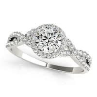 Auriya Round Infinity 3/4ct Moissanite and 1/5ctw Halo Diamond Engagement Ring 14k Gold