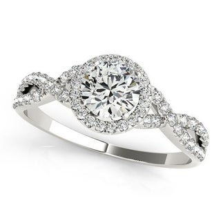Auriya Round Infinity 3/4ct Moissanite and 1/5ctw Halo Diamond Engagement Ring 14k Gold