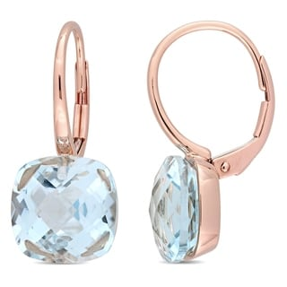 Miadora 14k Rose Gold Sky-Blue Topaz Solitaire Leverback Drop Earrings