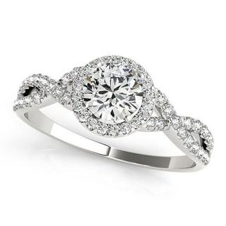 Auriya 1 1/2ct Twisted Moissanite Halo Diamond Engagement Ring 1/5ctw 14k Gold