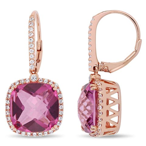 Miadora Rose Plated Sterling Silver Pink Topaz and White Sapphire Halo Leverback Drop Earrings