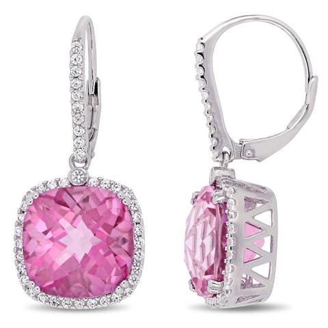 Miadora Sterling Silver Pink Topaz and White Sapphire Halo Leverback Earrings