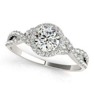 Auriya 1ct Twisted Moissanite Halo Diamond Engagement Ring 1/5ctw 14k Gold