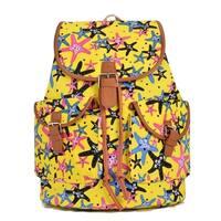 Hearty Trendy Cotton Canvas Shiny Stars Print Backpack